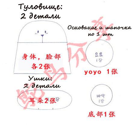 Текстильный зайка держатель катушек: выкройка