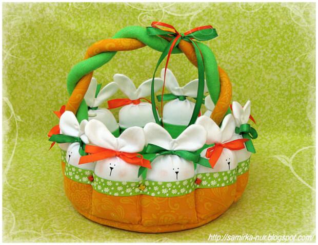 пасхальная корзина для яиц из ткани