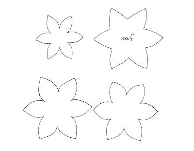 2.Поместите шаблоны на ткань, обведите, вырежьте заготовки цветка и листьев.