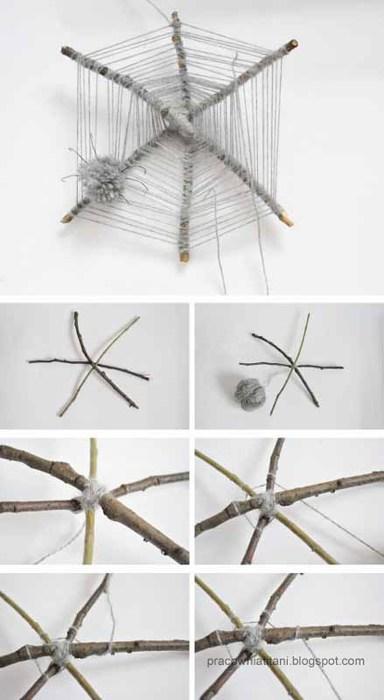 Декоративная паутина из веток и помпонов (1)