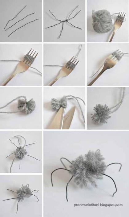 Декоративная паутина из веток и помпонов (2)