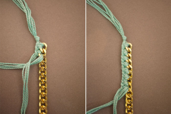 Браслет своими руками цепочка и нитки
