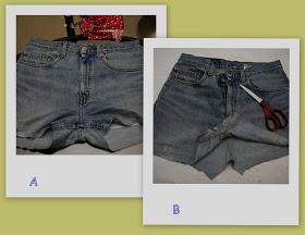 Обрежьте штанины на несколько сантиметров ниже промежности. Распорите ходовой шов, соединяющий переднюю и заднюю часть джинсов.