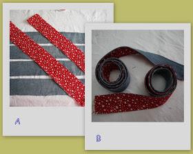 Вырежьте две полосы желаемой длины из джинсовой ткани и такие же - из ткани для подкладки - будущие ручки нашей сумки.