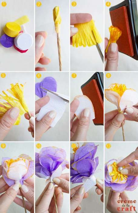 DIY-Craft-Idea-Project-Tutorial-How-To-Make-Crepe-Paper-Flower-Flowers-Steps
