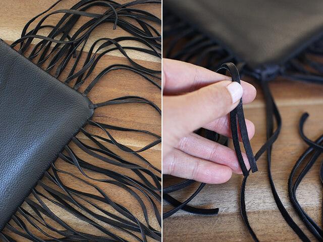 Как украсить кожаную сумку бахромой (8)