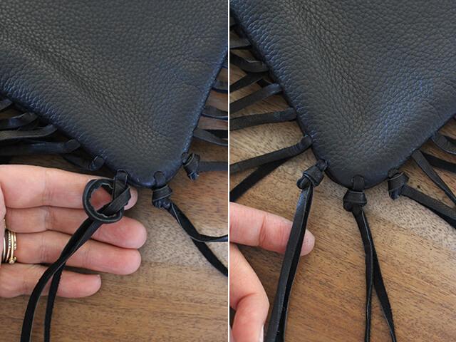 Как украсить кожаную сумку бахромой (9)