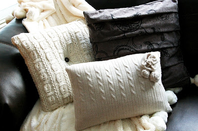 наволочки для подушек из старого свитера