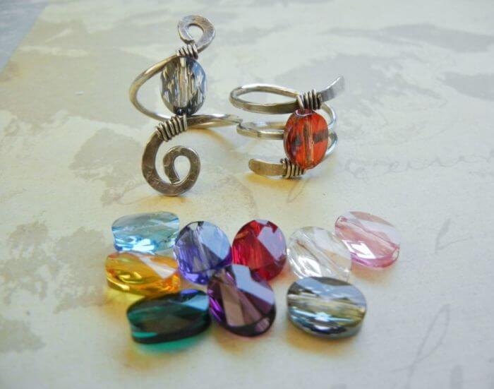 Кованые кольца с Сваровски