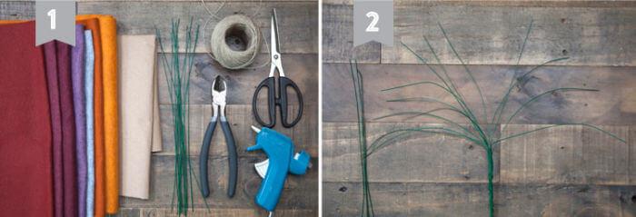 первый и второй этап создания дерева из фетра