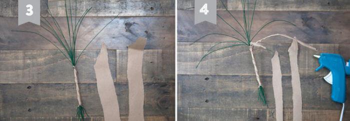 Обворачивание проволоки крафт-бумагой, формирование ствола дерева из фетра