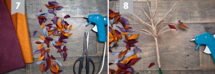 приклеивание листьев из фетра на ветки