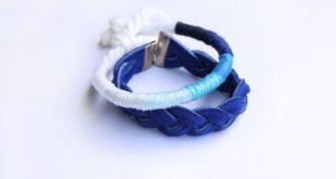 Браслет из ниток мулине 7 оттенков синего