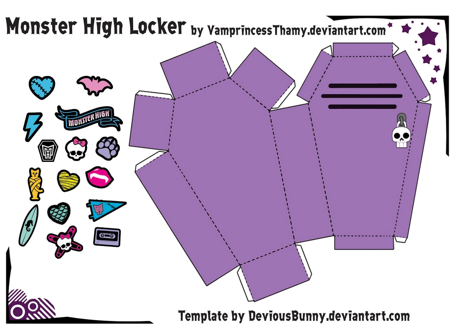 Бумажная модель - игрушка-складушка - Monster High Locker (шкафчик-гроб)
