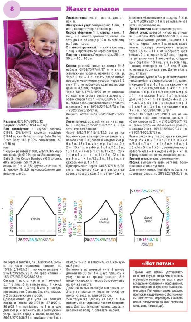 Вязаный жакет для младенца — схема вязания