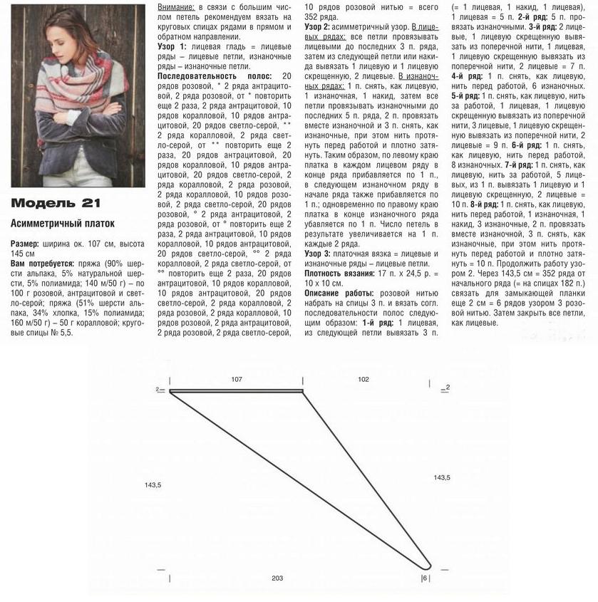 Вязаный ассиметричный платок — схема вязания