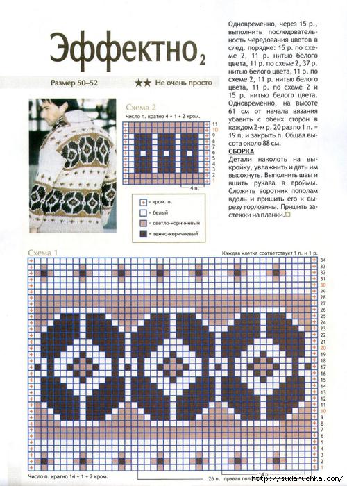 Вязаный мужской жакет — схема вязания