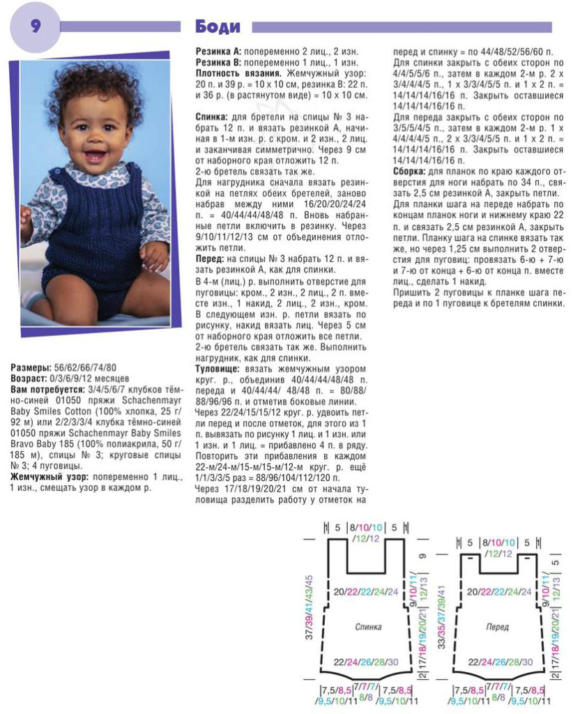 Вязаное боди для младенца — схема вязания