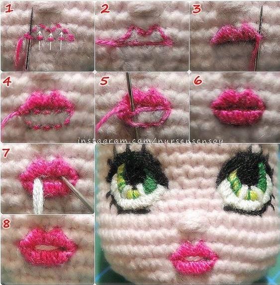 Как вышить губы кукле