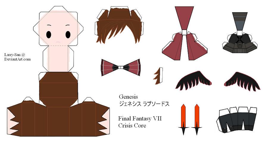 Бумажная модель - игрушка-складушка - Final Fantasy VII - Genesis