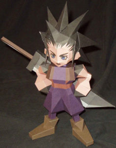 Бумажная модель - игрушка-складушка - Final Fantasy VII - Zack