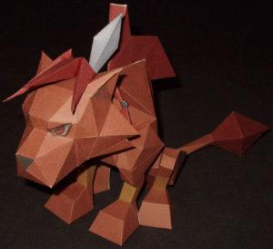 Бумажная модель - игрушка-складушка - Final Fantasy VII - Red XIII