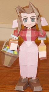 Бумажная модель - игрушка-складушка - Final Fantasy VII - Aerith