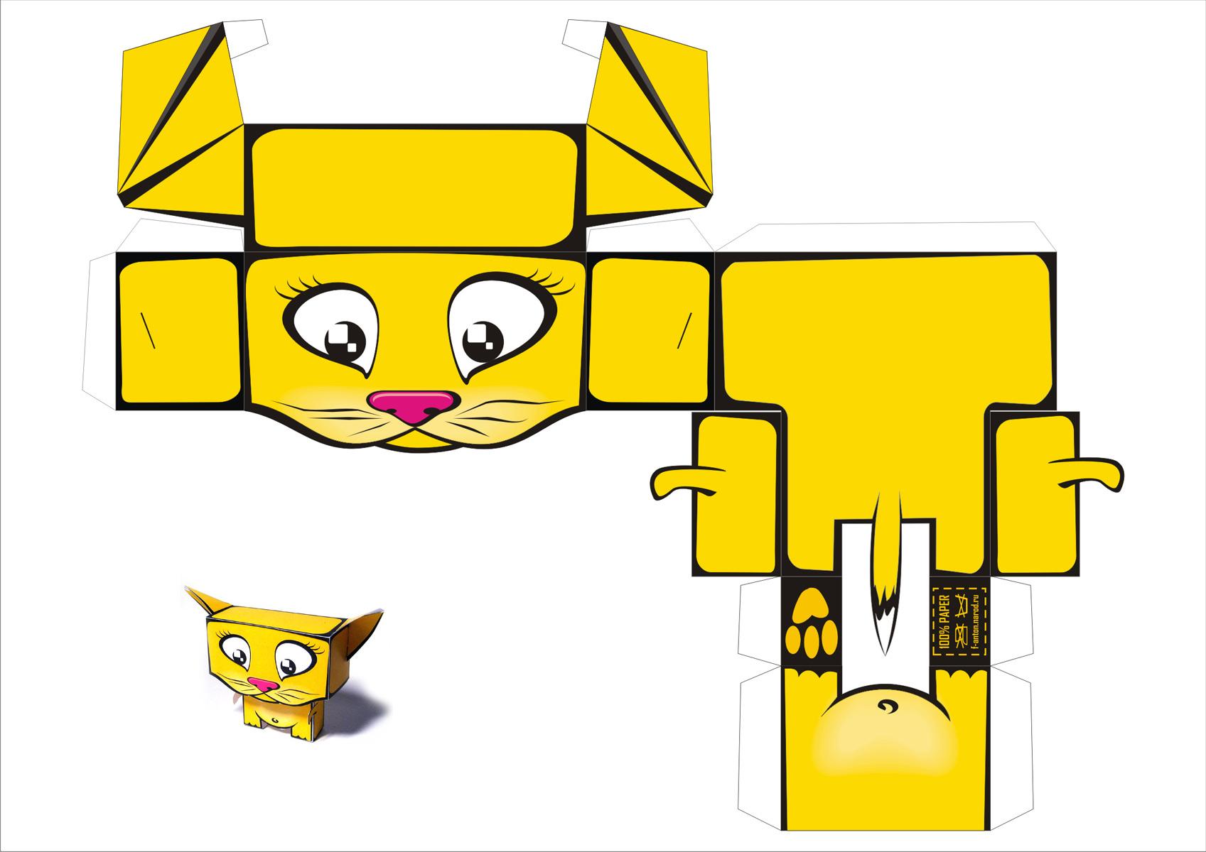 Бумажная модель - игрушка-складушка - кот