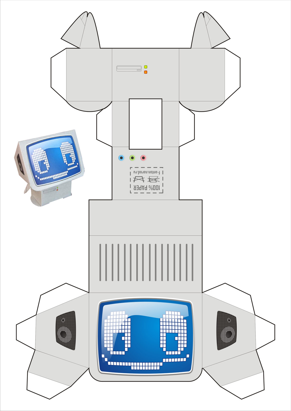 Бумажная модель - игрушка-складушка - компьютер