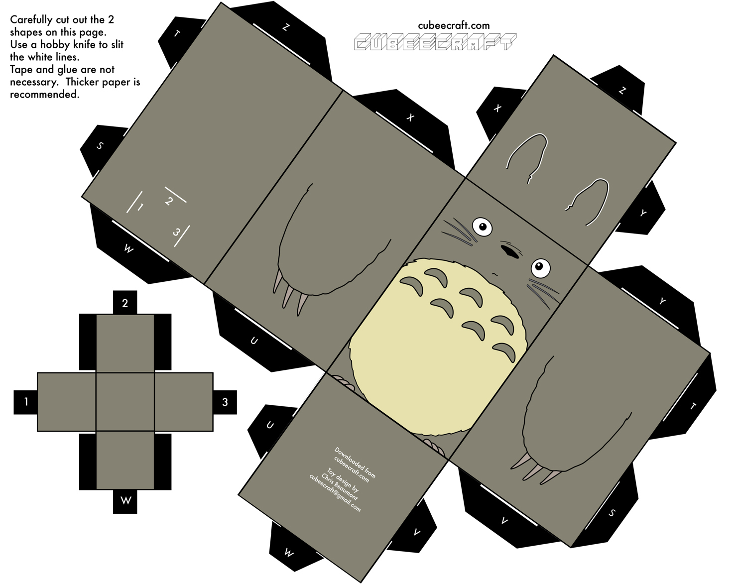 Бумажная модель - игрушка-складушка - Тоторо