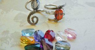 Кованые кольца с кристаллами Swarovski в стиле рустик