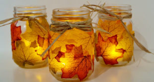 Подсвечник из осенних листьев