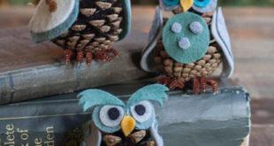 Идеи для поделок — совы из фетра и шишек своими руками