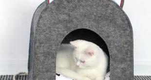 Домик для кошки из плотного фетра своими руками