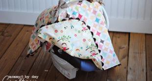 Навес для детского автомобильного кресла с бантами