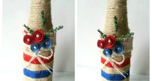 Декор бутылки с помощью джутовой веревки