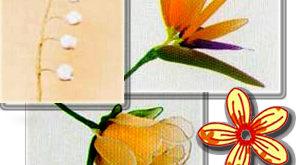 Цветы из разных типов ткани: простой цветочек, ландыш, стрелиция и роза